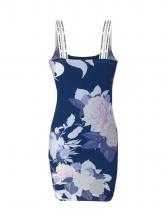 Deep U Neck Floral Sleeveless Bodycon Dress