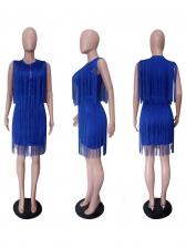 Fashion Solid Tassel Sleeveless Dress