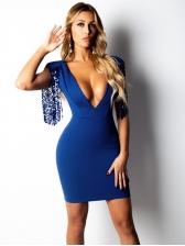 Sexy Deep V Neck Sequin Tassels Bodycon Dress