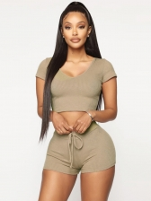 Sexy U Neck Solid Short Sleeve T-shirts With Shorts