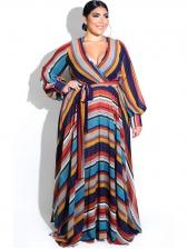 Contrast Color V Neck Tie Wrap Long Sleeve Dress