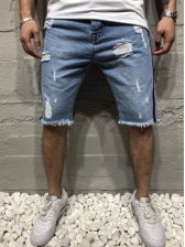 Stringy Selvedge Patchwork Ripped Denim Shorts