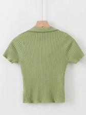 V Neck Solid Color Short Sleeve Women T-shirts
