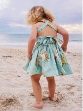 V Neck Backless Tie-Wrap Baby Girl Flower Dress