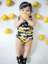Casual Lemon Print Baby Girl Sleeveless Romper
