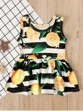 Crew Neck Lemon Striped Girl Sleeveless Dress