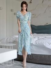 V Neck Printed Drawstring Short Sleeve Dress