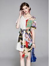 Patchwork V Neck Short Sleeve Shirt Dress