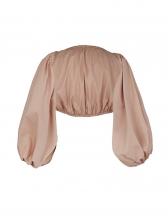 Backless Lantern Sleeve Women Blouse
