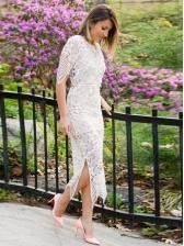 Fashion White Lace Split Hem Evening Dress