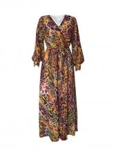 Deep V Neck Leopard Chiffon Maxi Dress