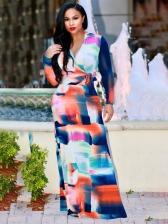 Color Block Print Long Sleeve Plus Size Maxi Dress