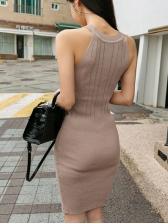 Crew Neck Button Decor Knitted Sleeveless Dress