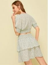 Lantern Short Sleeve Solid Floral Ladies Matching Sets