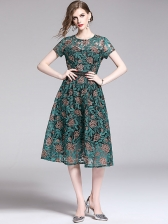 Elegant Embroidery Large Hem Short Sleeve Dress