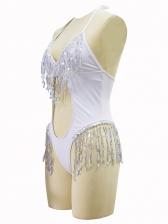 Low-Cut Sequin Tassel Decor Hollow Out Halter Swimsuit