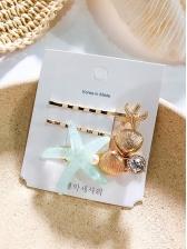 Cute Starfish Patchwork Hair Clip Set For Women