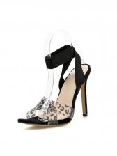 PVC Leopard Cross Belt Heeled Sandals