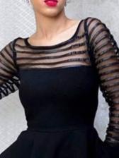 Gauze Patchwork Ruffled Hem Black Ladies Blouse