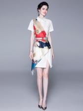 Contrast Color Silk Scarf Patchwork Shirt Dress