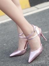 Pointed Toe Cross Belt Ankle Strap Heels
