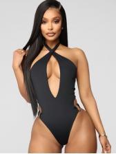 Deep V Neck Skinny Black One Piece Swimwear