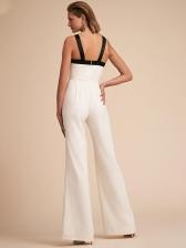 Summer Contrast Color Bow Wide Leg White Jumpsuit