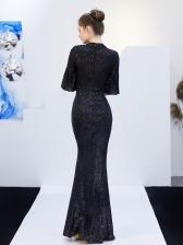 Elegant Shining Half Sleeve Fishtail Designer Evening Dresses
