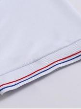 Simple Design Turndown Collar Short Sleeve Tee For Men