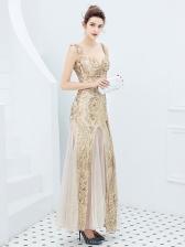 Shoulder Straps Gauze Patchwork Fishtail Sequins Evening Dresses