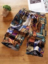 Vintage Printed Elastic Waist Short Pants For Men