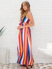 V Neck Contrast Color Striped Sleeveless Maxi Dresses