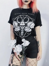 Crew Neck Devil Letter Printed Short Sleeve T-shirt