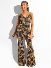 Golden Chain Printed V Neck Straps Jumpsuit