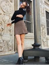 Fashion Plaid Slit High Waist A-line Skirts