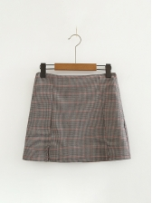 Fashion Plaid Slit High Waist A-line Skirts