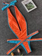 Deep V Contrast Color One Piece String Bikini