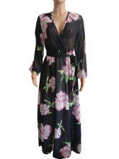 Plus Size Flower Printed Chiffon Maxi Dresses