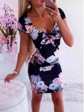 Seductive v Neck Flower Printed Bodycon Dresses