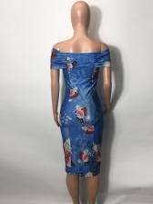 Contrast Color Off Shoulder Printed Vacation Dress