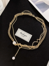 Simple Design Gold Chain Pearl Necklace