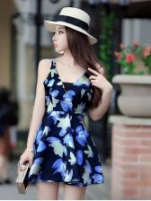Beach Flowers V Neck Backless Dress