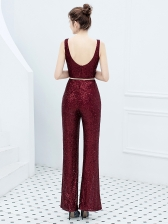 V Neck Sleeveless Sequined Wide Leg Jumpsuit