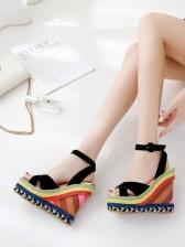 Contrast Color Cross Ankle Strap Wedge Sandal