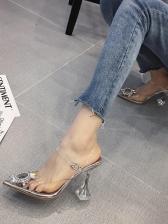 Pointed Toe Rhinestone Patchwork Clear High Heel