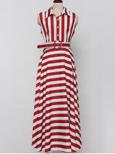 Elegant Striped Turndown Collar Midi Shirt Dress