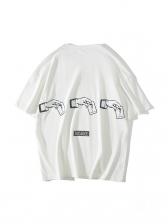 Simple Loose Printed Short Sleeve Male Tee Shirt