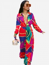 Single-Breasted Color Block Printing Straight Jumpsuit