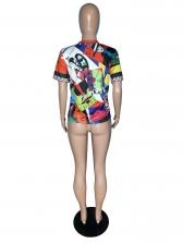Stylish Crew Neck Printed Short Sleeve Women T-shirt