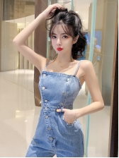 Stylish Double-breasted Ripped Spaghetti Strap Jumpsuit